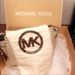 Michael Kors large white studded saffiano  selma
